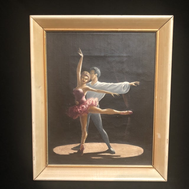 Early 20th Century Vintage Oil Painting of Two Classical Ballet Dancers on Stage For Sale - Image 5 of 8
