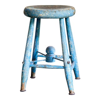 Primitive Painted Wood Milking Stool For Sale