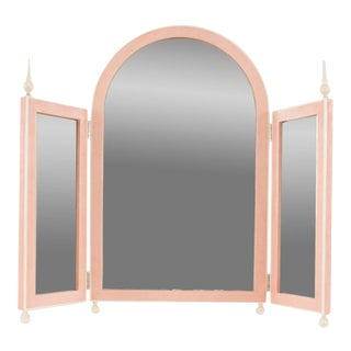French Art Deco Style Pink Shagreen Table Top Triptych Dressing Table Mirror For Sale