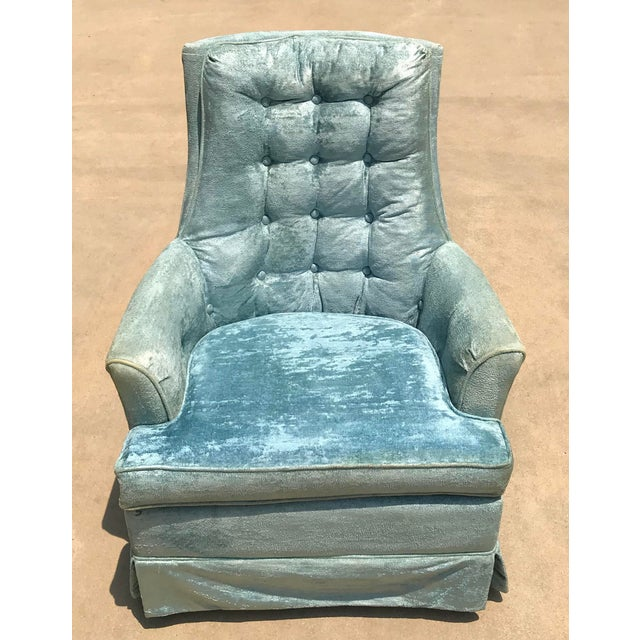 Vintage Baby Blue Velvet Swivel Rocker For Sale - Image 13 of 13