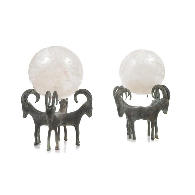 Pair of Antique Rock Crystal Globes supported by Bronze Rams Stands. In excellent condition. Please check all the photos!...