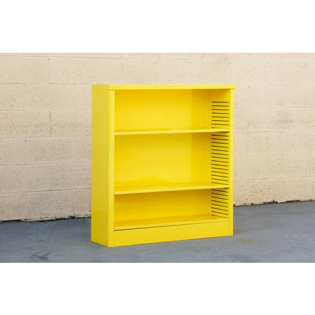 Contemporary 1960s Steel Tanker Style Bookcase in Yellow, Custom Refinished to Order For Sale - Image 3 of 8