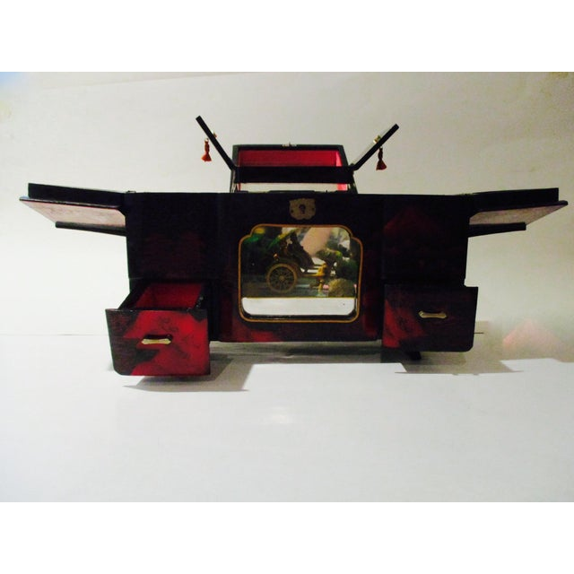 Asian Black Lacquer Jewelry Music Box - Image 11 of 11