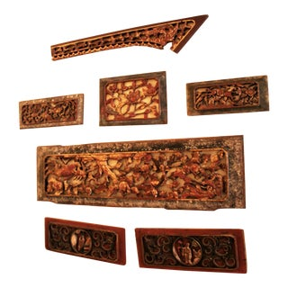Antique Chinese Carved Wood Gate Pieces Wall Hanging, Set of 7 For Sale