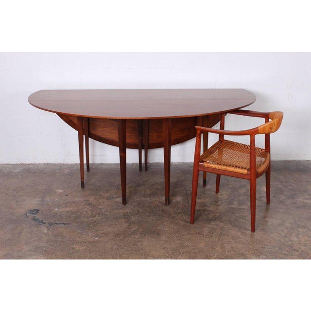 Brown Walnut Drop-Leaf Console Table by Edward Wormley for Dunbar For Sale - Image 8 of 11