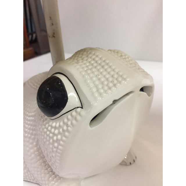 Vintage Italian White Ceramic Hobnail Frog Lamp With Shades - a Pair For Sale - Image 10 of 13