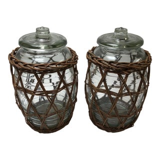 Glass Pickle Jars - a Pair For Sale