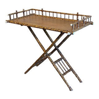 French Bamboo Tray on Stand as a Table For Sale