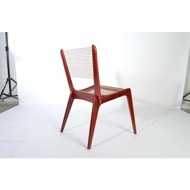 Late 20th century chair designed by Jacques Guillon having corded backrest and seat. Canada, circa 1980. Very nice vintage...