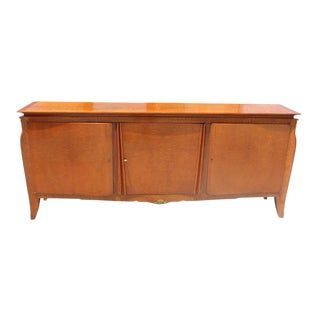 1940s Longe French Art Deco Flame Mahogany Sideboard or Buffet For Sale