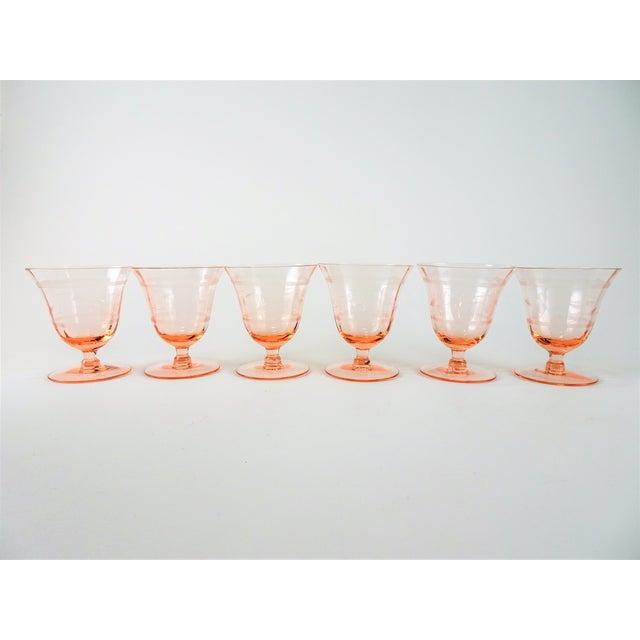 Cottage Early 20th Century Vintage Depression Era Etched Blush Pink Short Stem Glasses- Set of 6 For Sale - Image 3 of 8