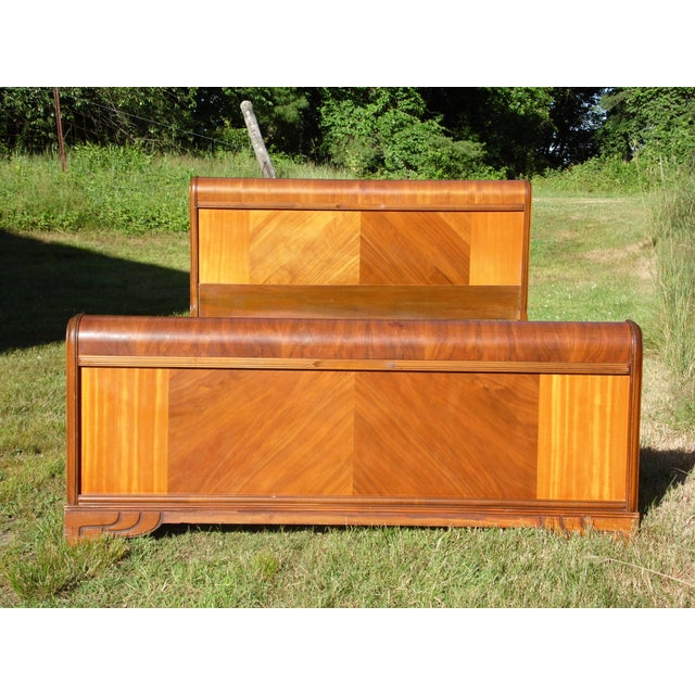 Art Deco Vintage Art Deco Walnut Full Double Waterfall Bed For Sale - Image 3 of 12