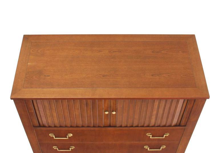 Baker Modern Five Drawer High Chest Tambour Door Compartment Brass Hardware  Pull   Image 6 Of