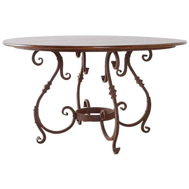 Italian Oak and Scrolled Iron Round Dining Table For Sale - Image 13 of 13