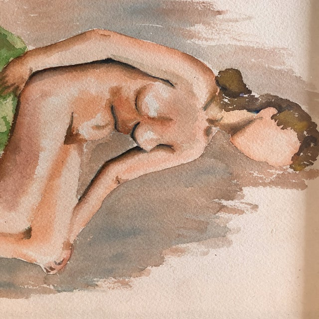 Expressionism 1940's Modernist Female Nude Original Watercolor For Sale - Image 3 of 7