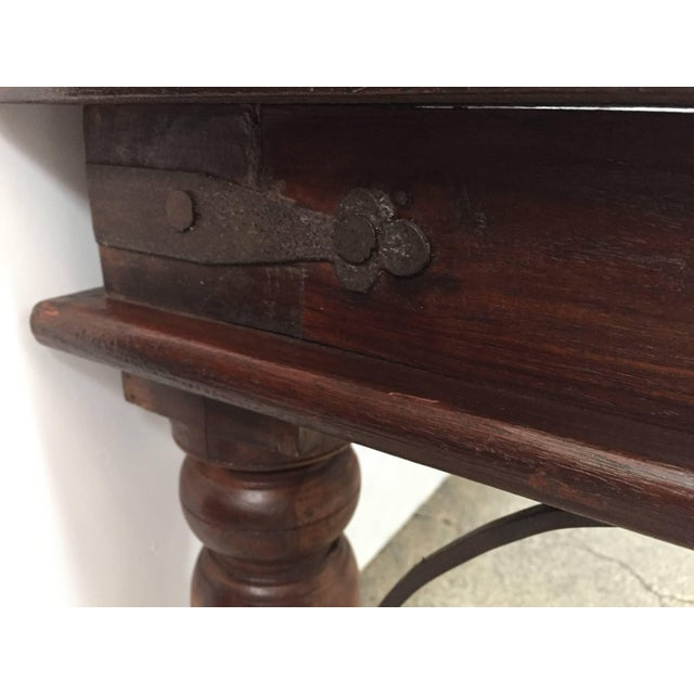 20th Century Anglo Indian Wooden Coffee Table With Iron and Glass For Sale In Los Angeles - Image 6 of 7