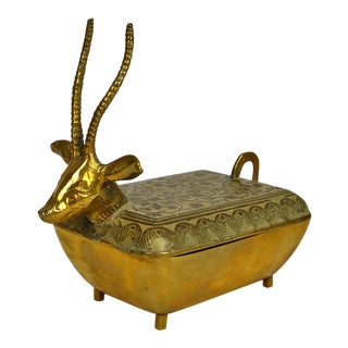 Enameled Brass Ibex Box For Sale