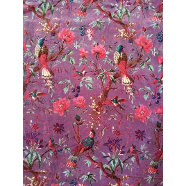 10 Yards Purple Chinoiseri Cotton Velvet For Sale - Image 4 of 4