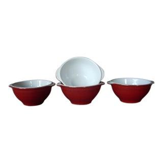 Emile Henry Red Glazed Bowls, Made in France - Set of 4