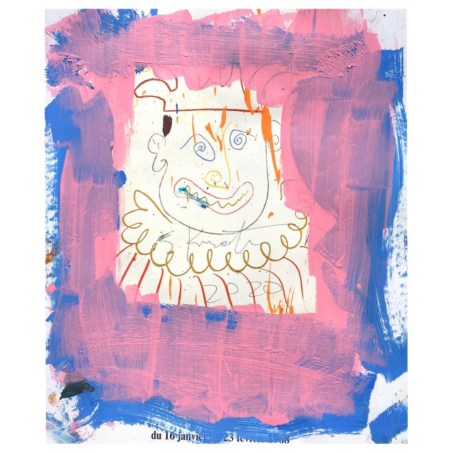 Abstract 'Pink Jester' Framed Picasso Poster Painting by Sean Kratzert For Sale