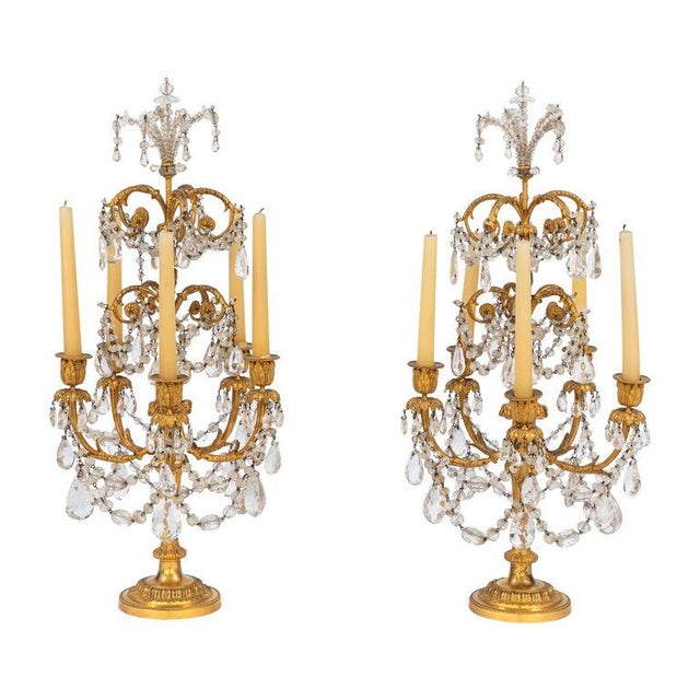 19th Century French Doré Bronze and Rock Crystal Girandoles - a Pair For Sale - Image 12 of 12