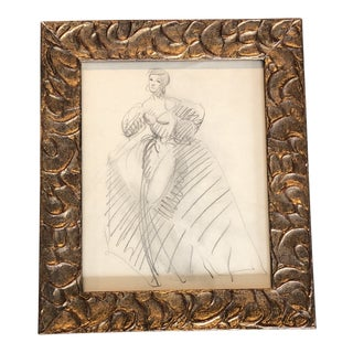 Original Vintage Female Fashion Study Drawing 1950's Framed For Sale