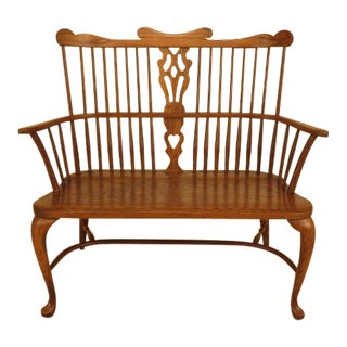 Pennsylvania House Solid Oak Windsor Style Bench Settee