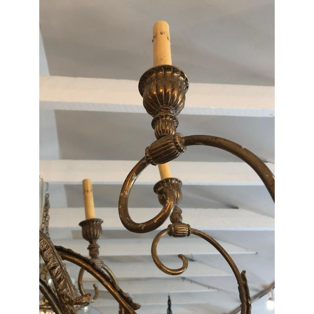2000 - 2009 Contemporary Large Gilded 9 Arm Chandelier For Sale - Image 5 of 9