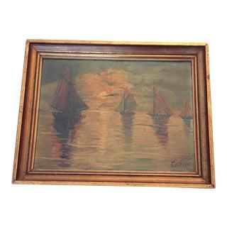 Framed Original Sailboats at Sunset Oil Painting