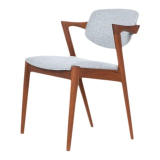 "Kai Kristiansen Solid Teak ""Z"" Arm Chair in New Knoll Grey Wool 1960's Vintage For Sale"