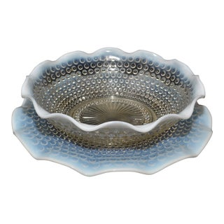 Anchor Hocking Moonstone Bowl & Platter For Sale