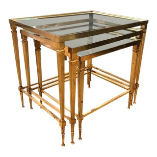 Mid Century Italian Brass Nesting Tables, Silvered Edged Glass For Sale