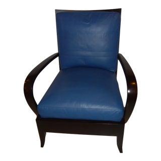 Dakota Jackson Leather Blue Arm or Lounge Chair