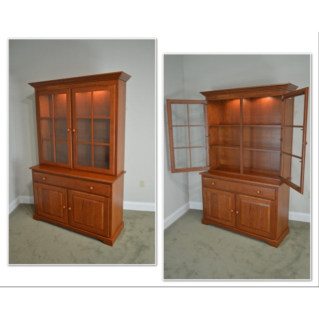 Traditional Woxall Woodcraft Hand Crafted Solid Cherry China Cabinet Hutch For Sale - Image 3 of 12