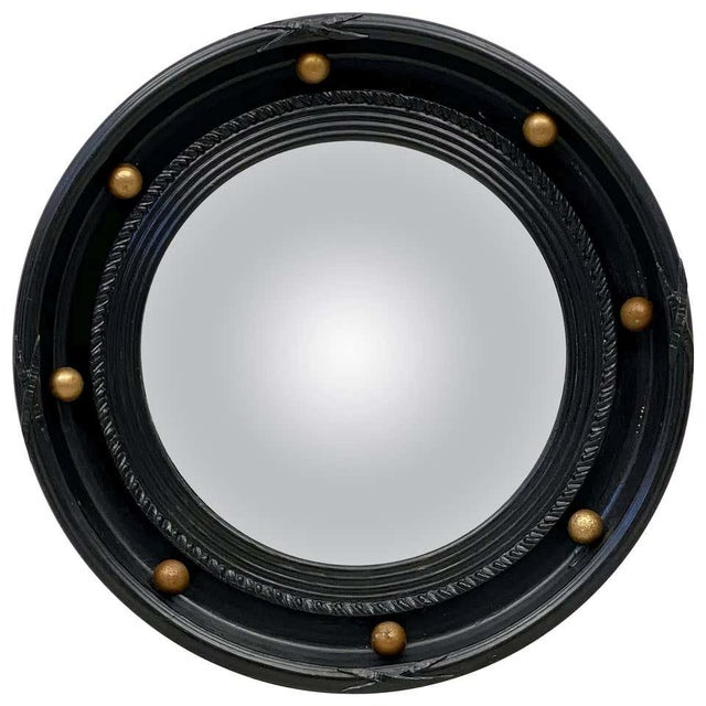 English Round Ebony Black and Gold Framed Convex Mirror For Sale - Image 13 of 13