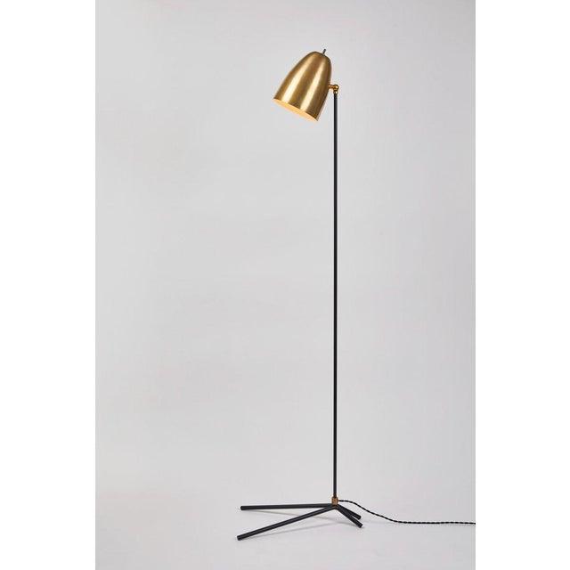 ORO' brass and metal floor lamp. Hand-fabricated by Los Angeles based designer and lighting professional Alvaro Benitez,...