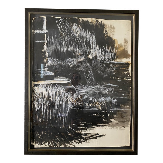 Oversize Black & White Abstract Landscape Painting, Signed & Framed For Sale
