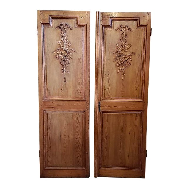 Mid 19th Century French Pine Carved Door Panels C.1870 For Sale