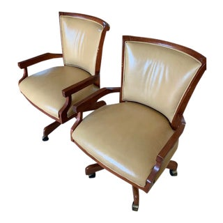 Sam Moore Excaliber Leather Swivel Office Chairs - a Pair For Sale