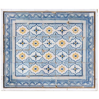 18th Century Portugese Tiles in Blue and Yellow, Circa 1780