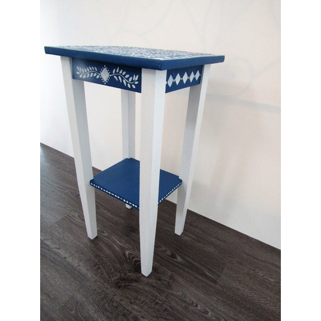 Boho Chic 1970s Vintage Small Hand Painted Accent Side Table For Sale - Image 3 of 5