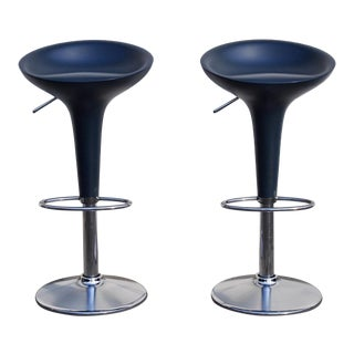 Vintage Original Magis Bombo Blue Bar Stools by Stefano Giovannoni- A Pair For Sale