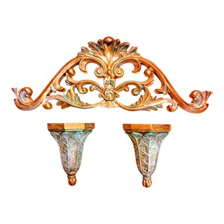 Verdigis Accented & Washed Gold Wall Accents - 3 Pc. For Sale