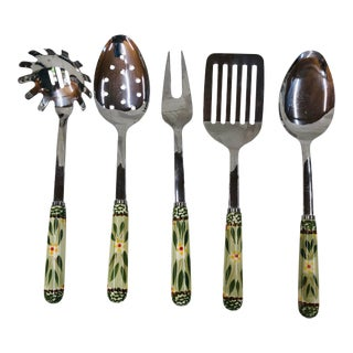 Late 20th Century Serveware Utensils With Floral Ceramic Handles - Set of 5 For Sale