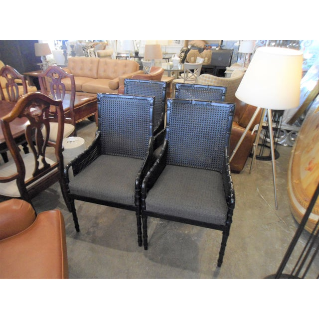 Palecek Black Bamboo Framed Chairs - Set of 4 - Image 2 of 5