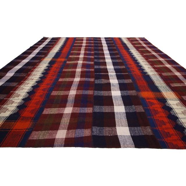 Vintage Tartan Plaid Area Rug - 8′10″ × 11′3″ For Sale - Image 4 of 6