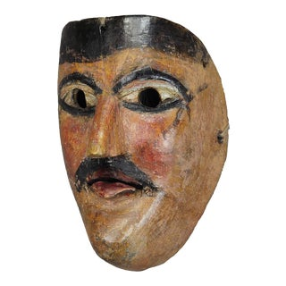 A Nice Carved And Painted Tyrolian Carnival Fasnet Mask For Sale