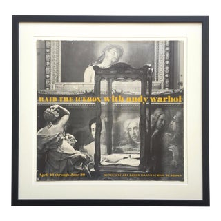 "Andy Warhol Rare Original Vintage 1970 "" Raid the Icebox "" Framed Lithograph Print Landmark Exhibition Poster For Sale"
