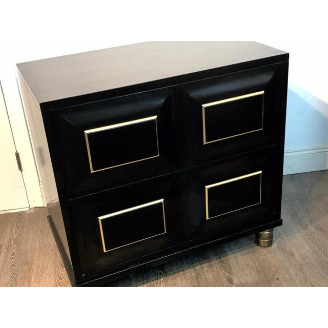 Mid 20th Century Pair of Mastercraft Black Lacquer and Brass Block Front Cabinets For Sale - Image 5 of 12