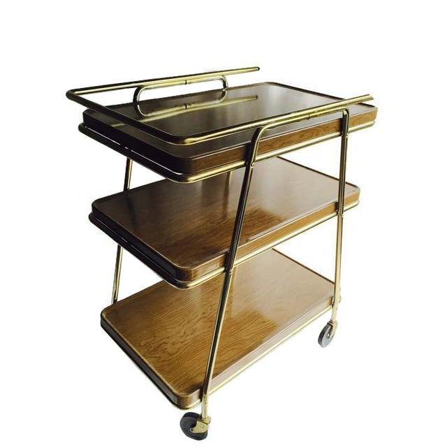 Mid-Century Atomic Age Three-Tiered Bar Cart - Image 1 of 9